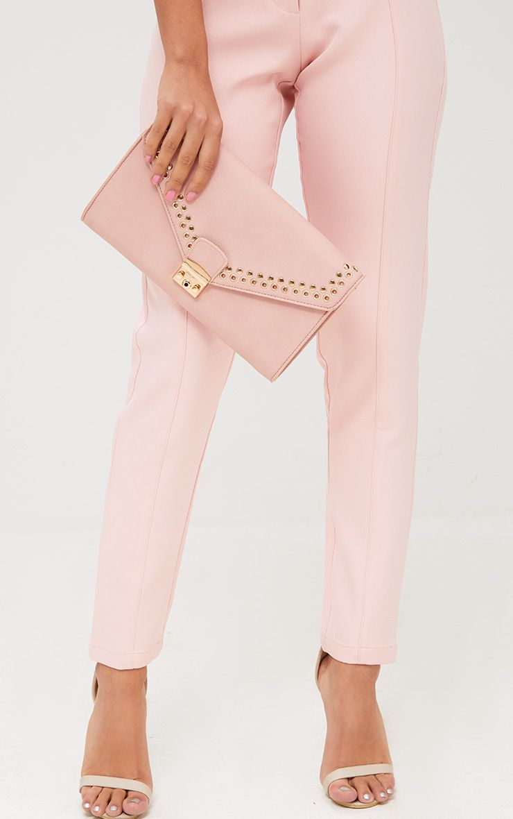 Pink Eyelet and Stud Lockable Clutch