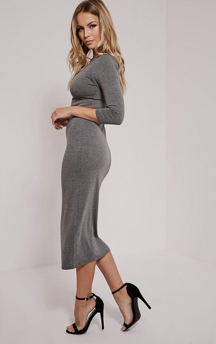 Basic Charcoal Long Sleeve Midi Dress 1