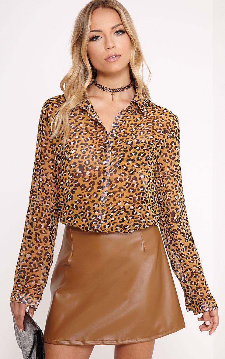 Tina Mustard Leopard Print Blouse 1