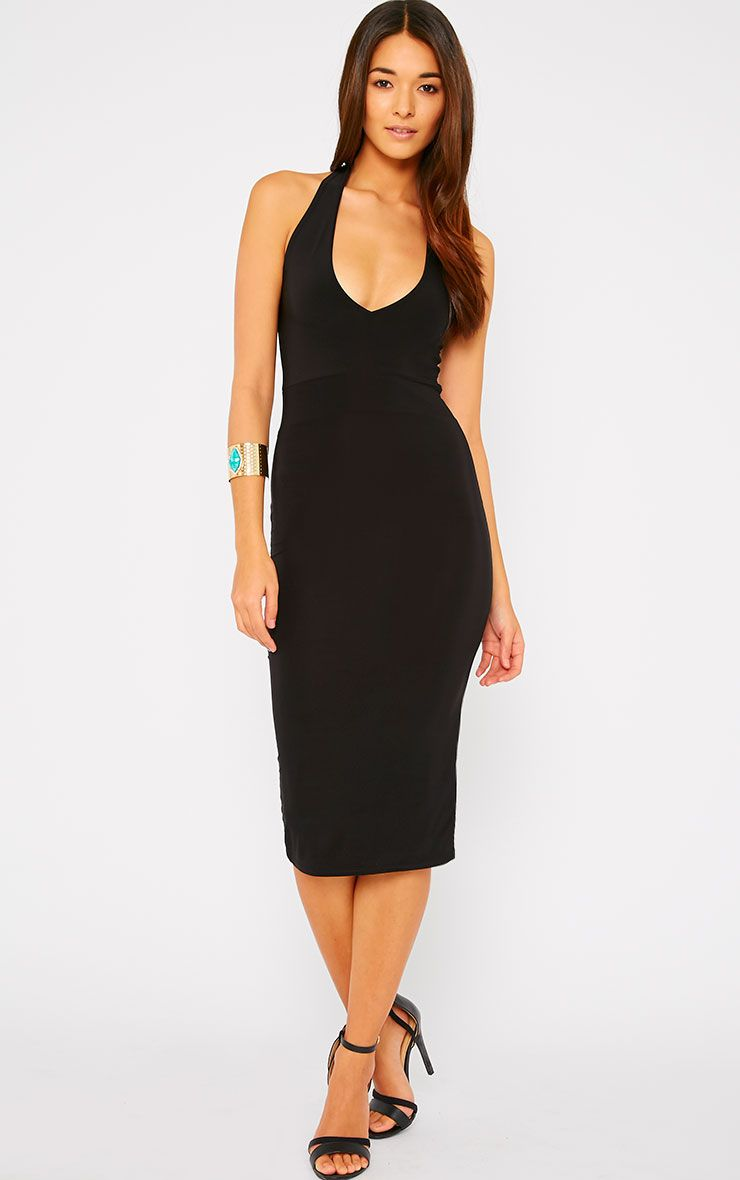 Lilly Black Slinky Halterneck Midi Dress 1