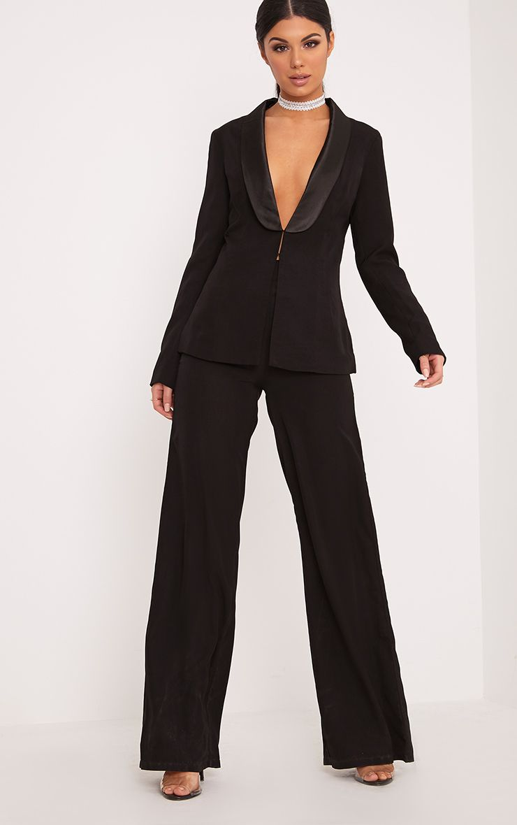 Elnie Black Wide Leg Suit Trousers