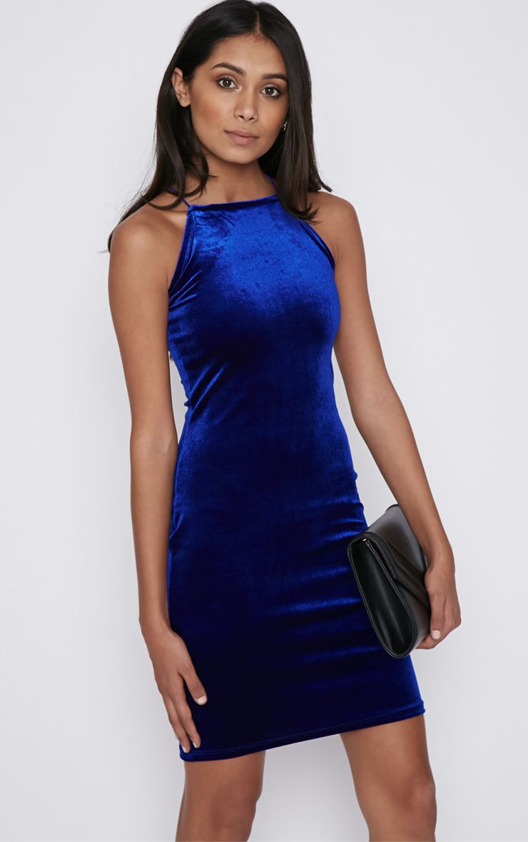 Elektra Cobalt Velvet Mini Dress 1