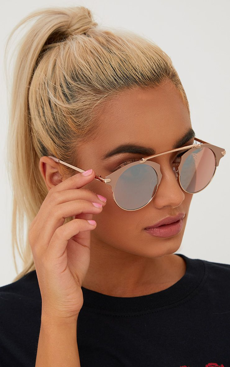 Rose Gold Curved Top Bar Sunglasses