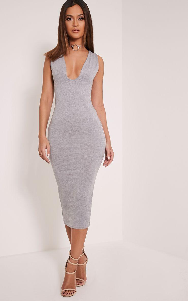 Basic Grey Plunge Jersey Midi Dress 1