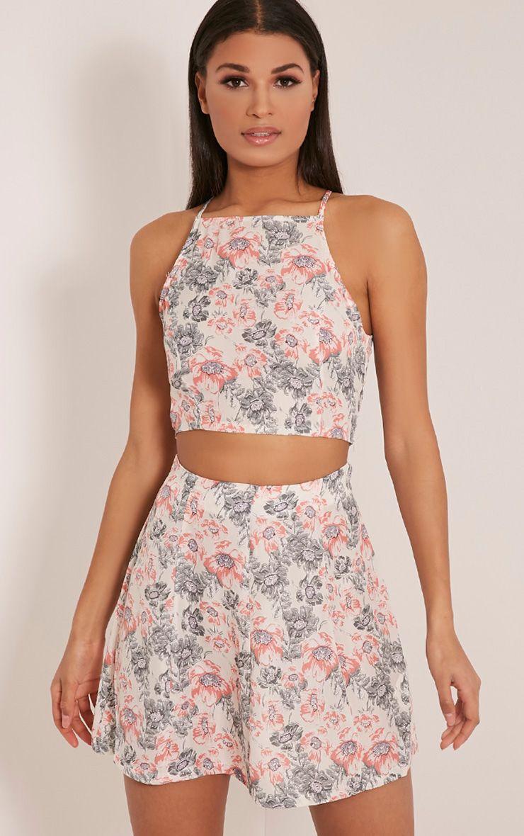 Tamara Cream Floral Print Floaty Mini Skirt 1