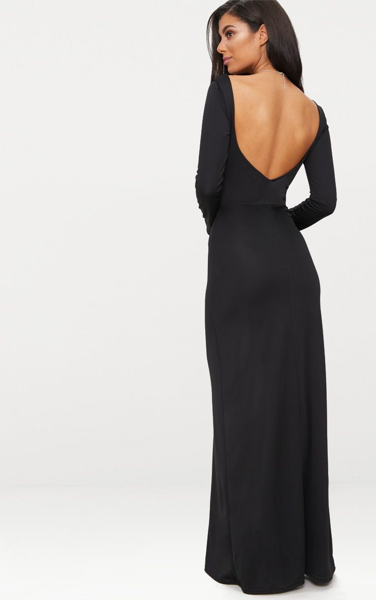 Black Backless Plunge Long Sleeve Maxi Dress