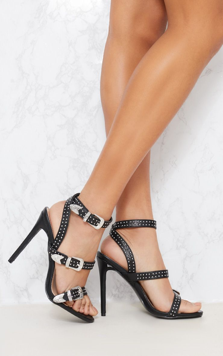 Black Studded Western Buckle Heel Sandal