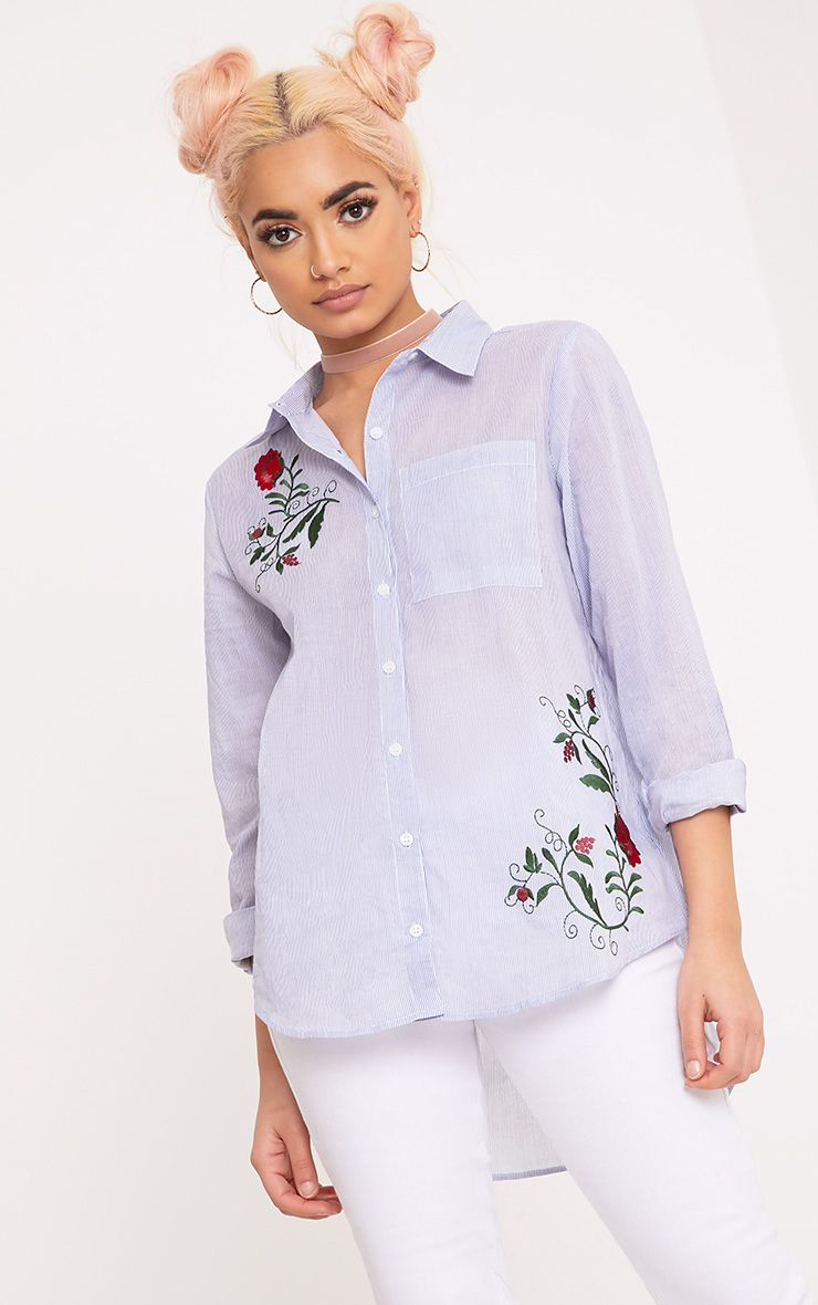 Indii Blue Embroidered Stripe Shirt