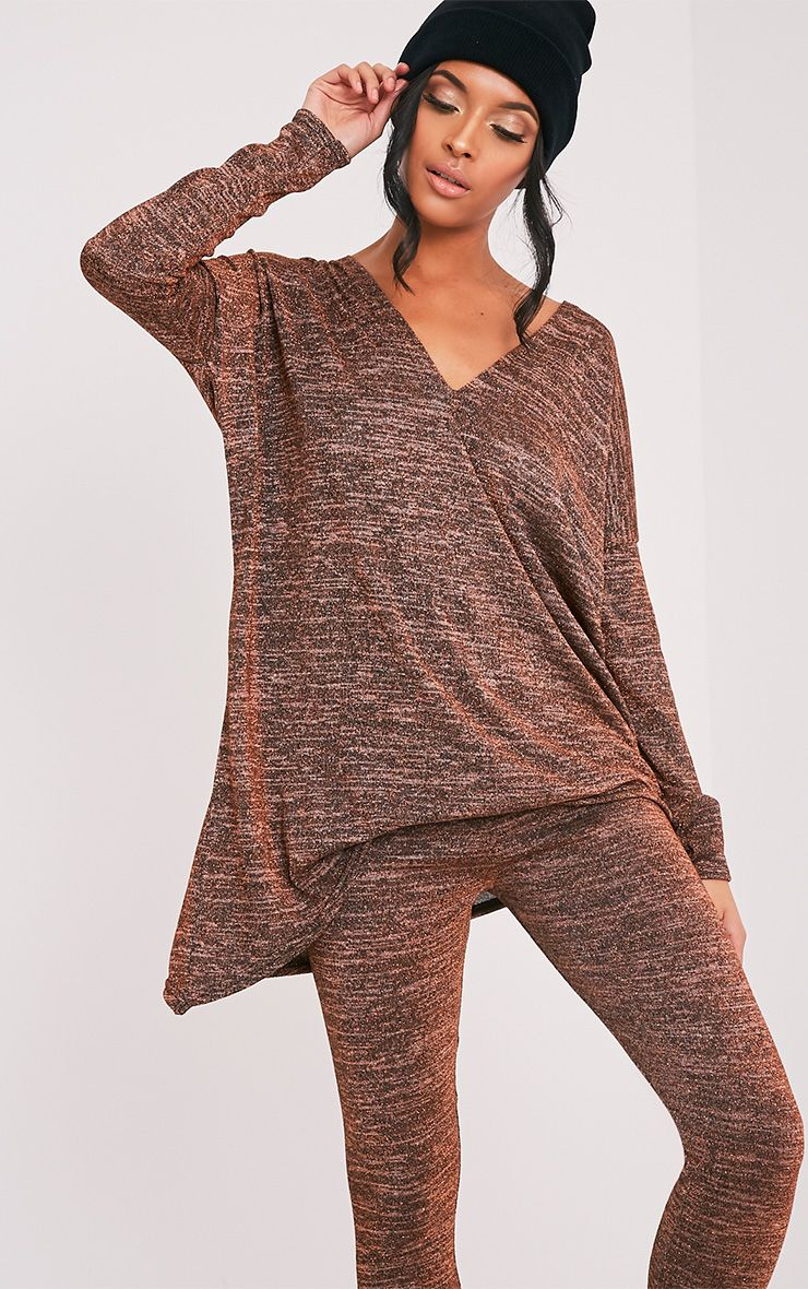 Sophie Bronze Metallic Crossover Longsleeve Top