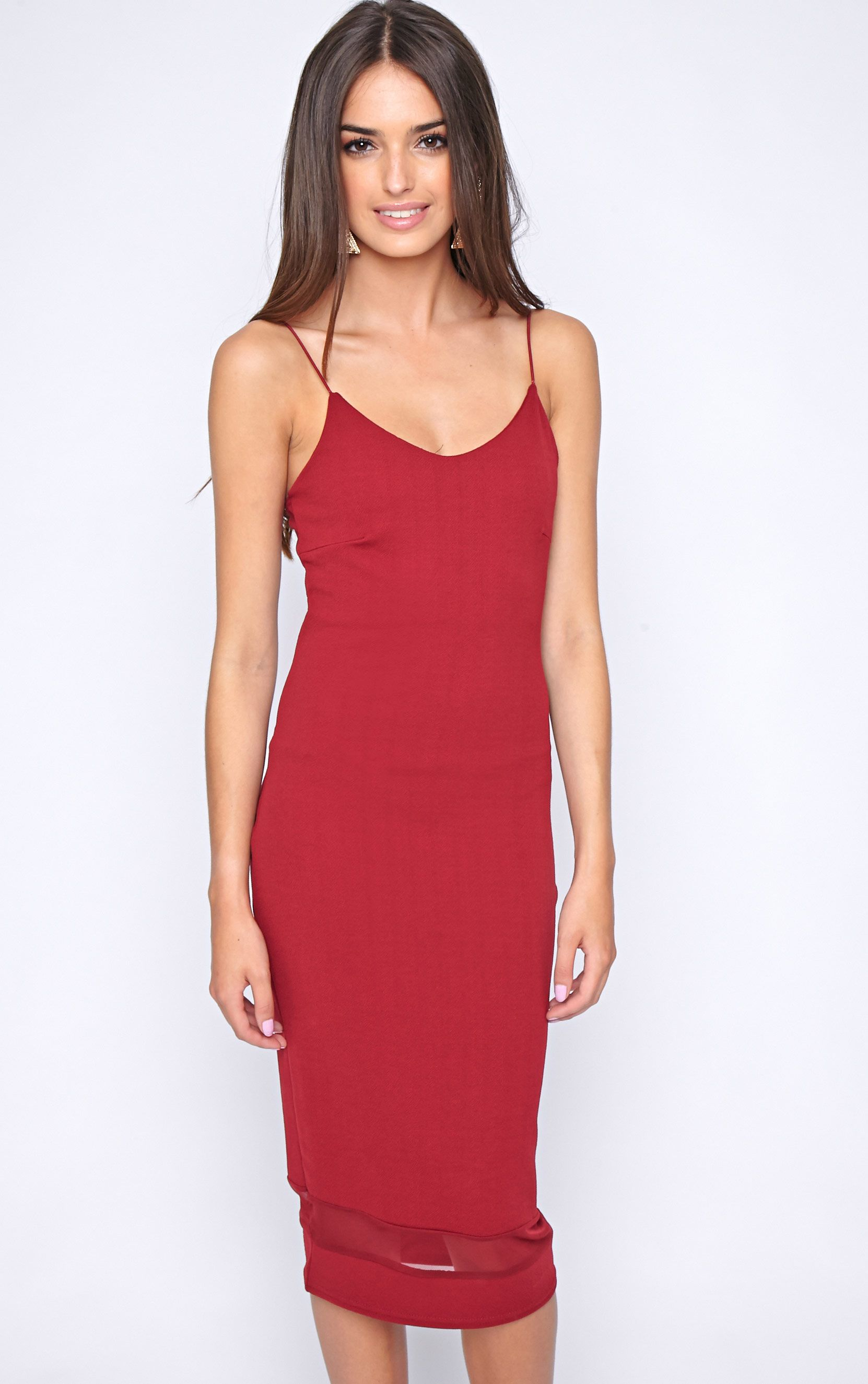 Ryleigh Wine Mesh Insert Midi Dress 1