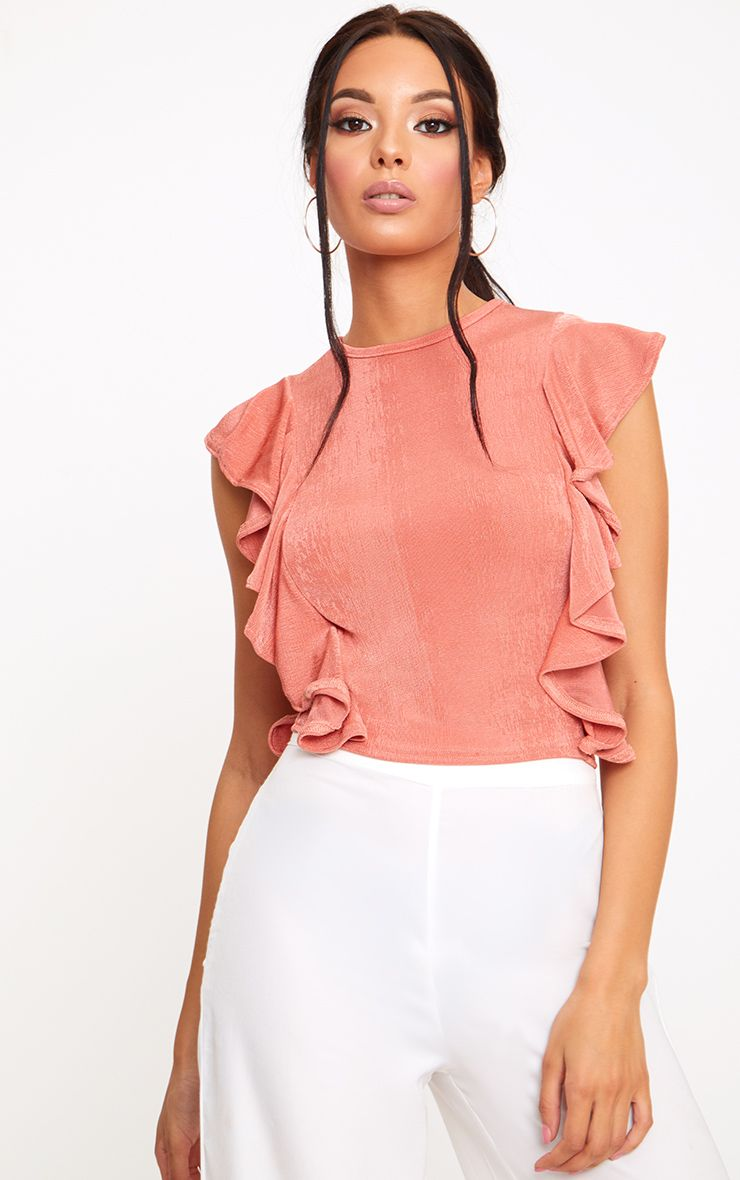 Coral Frill Shimmer Crew Neck