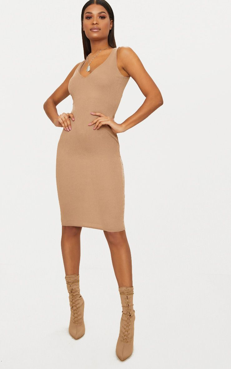 Taupe Square Neck Strap Detail Extreme Split Midi Dress