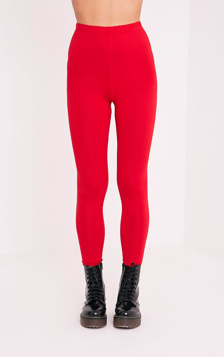 Basic legging en jersey rouge 2