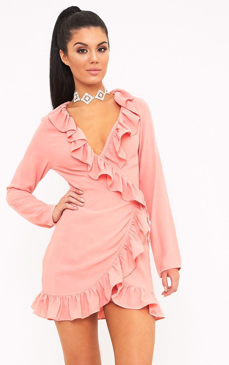 Neeko Dusty Pink Wrap Shift Dress