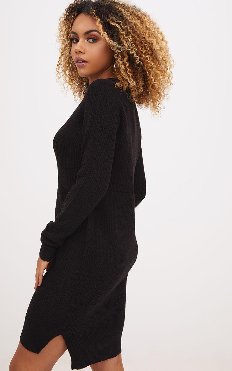Black Rib Jumper Dress