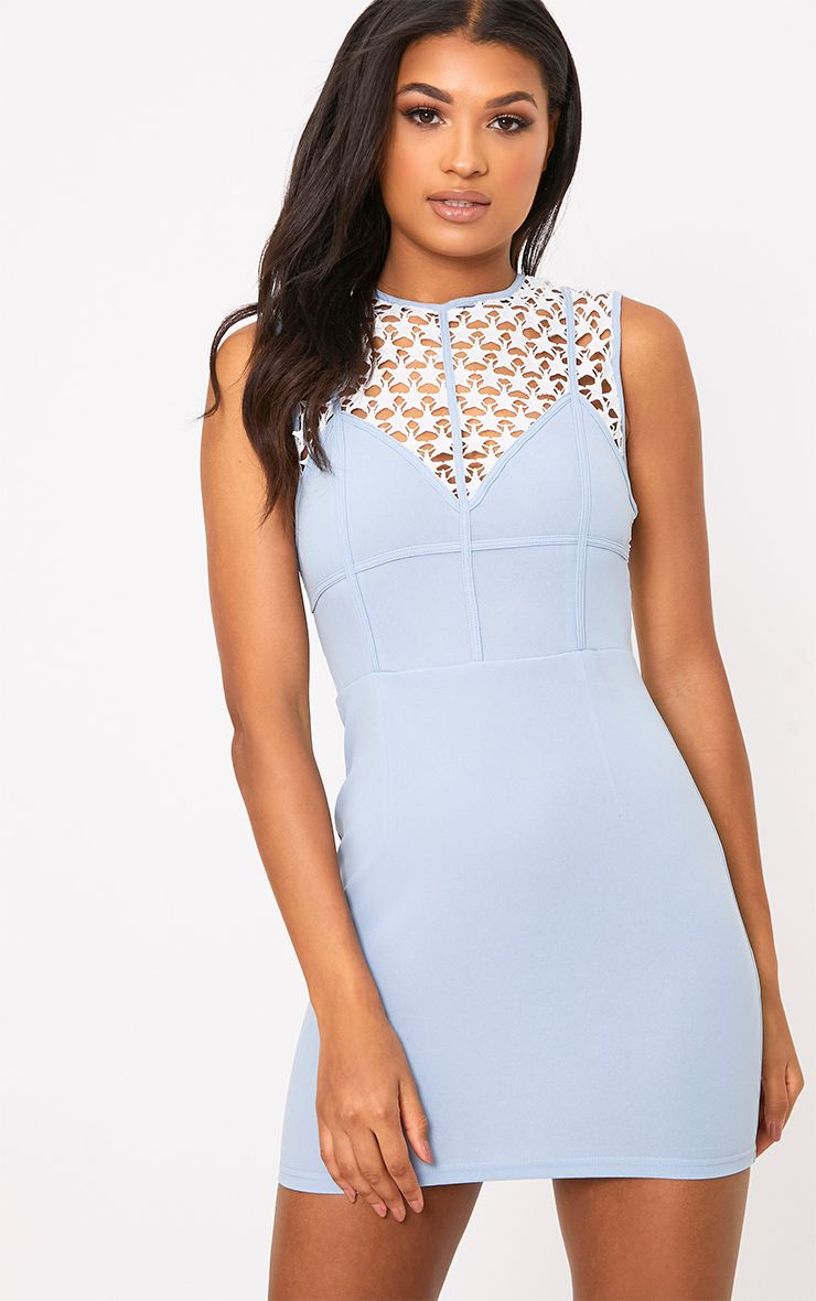 Layalia Blue Star Lace Contrast Bodycon Dress