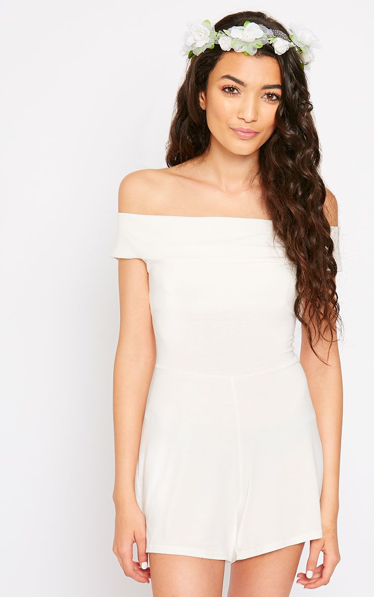 Senta Cream Bardot Playsuit 1