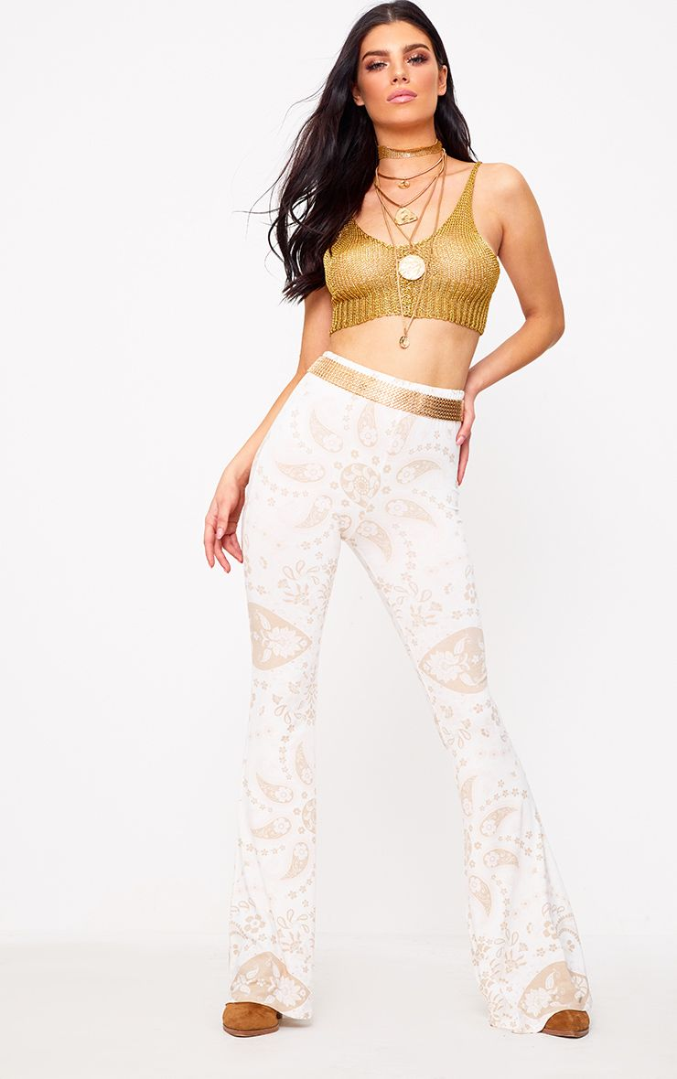 White Festival Print Jersey Flare Trousers