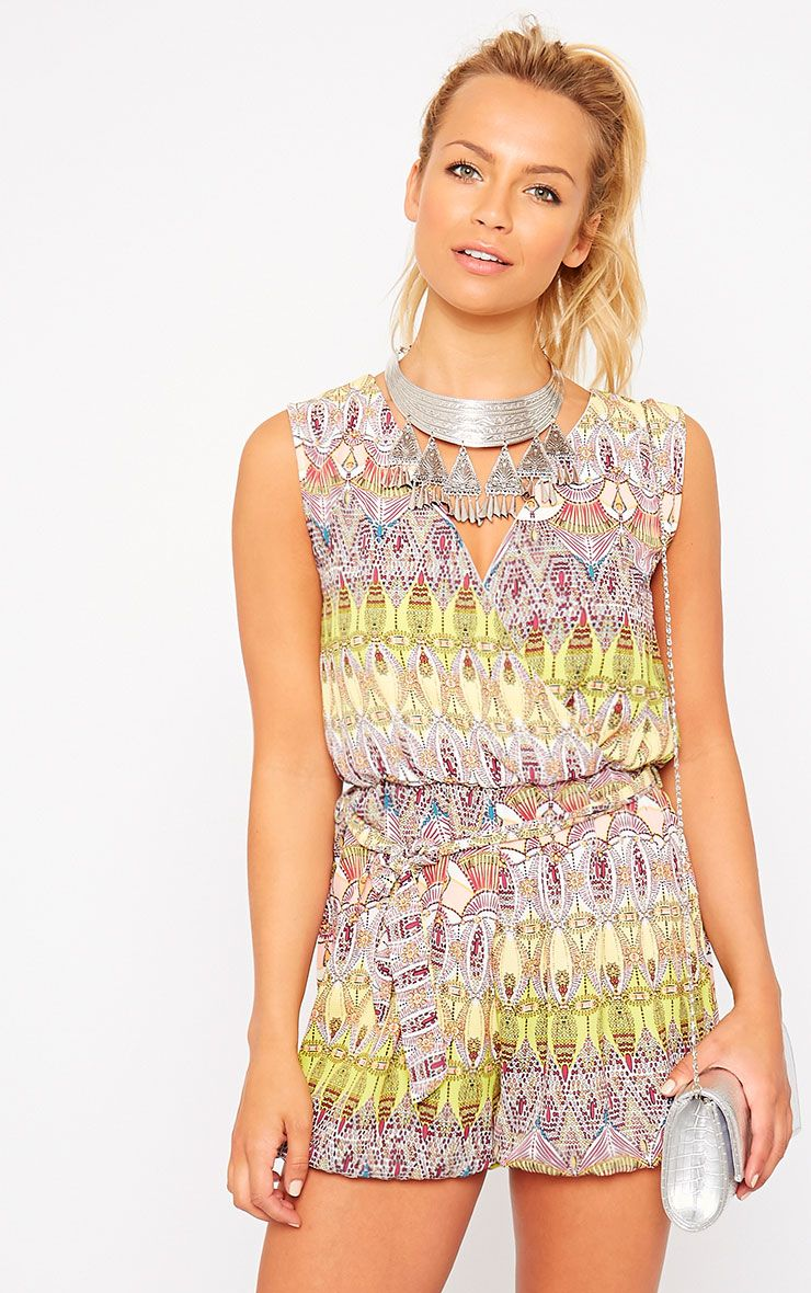 Kinsley Yellow Printed Chiffon Playsuit 1
