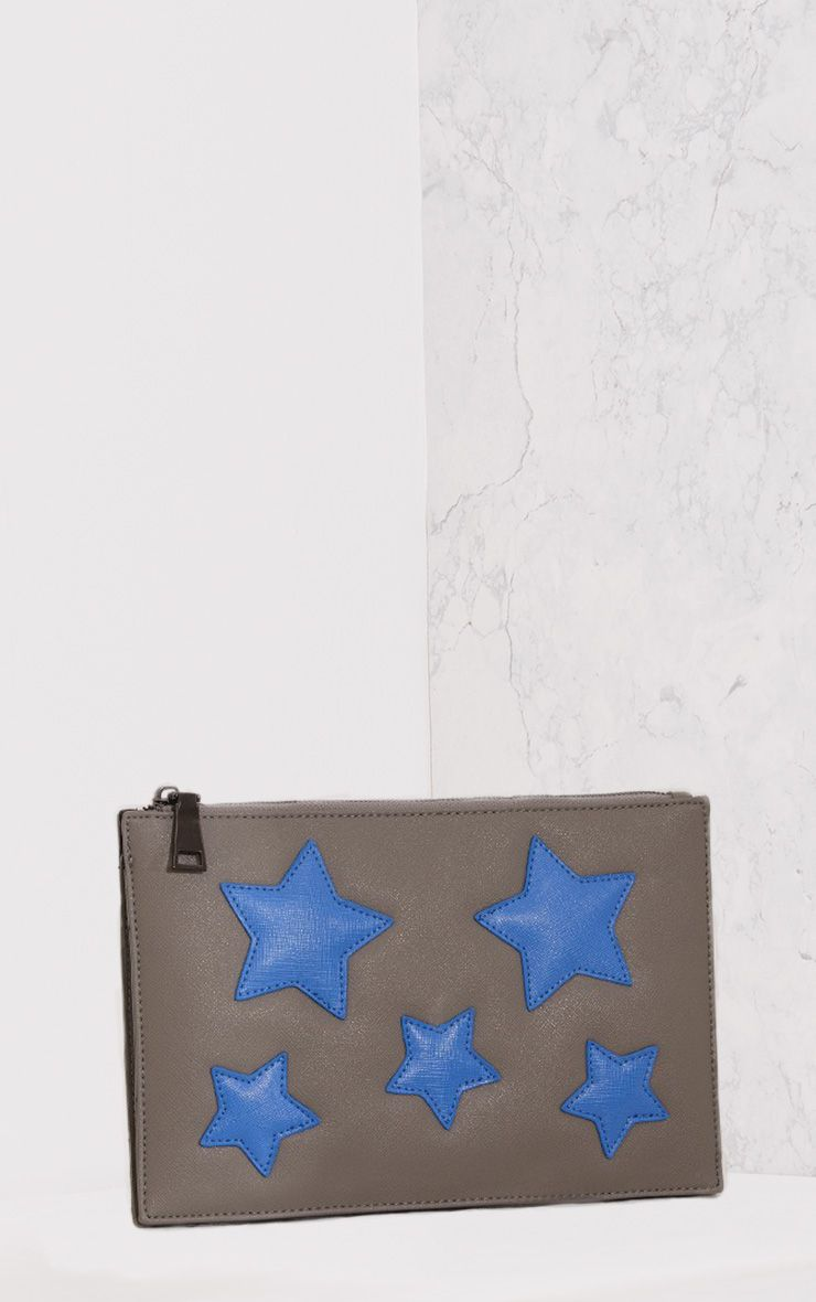 Aimee Grey PU Star Detail Clutch Bag