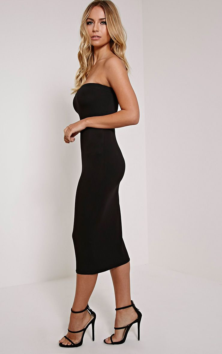 Basic Black Jersey Bandeau Midi Dress