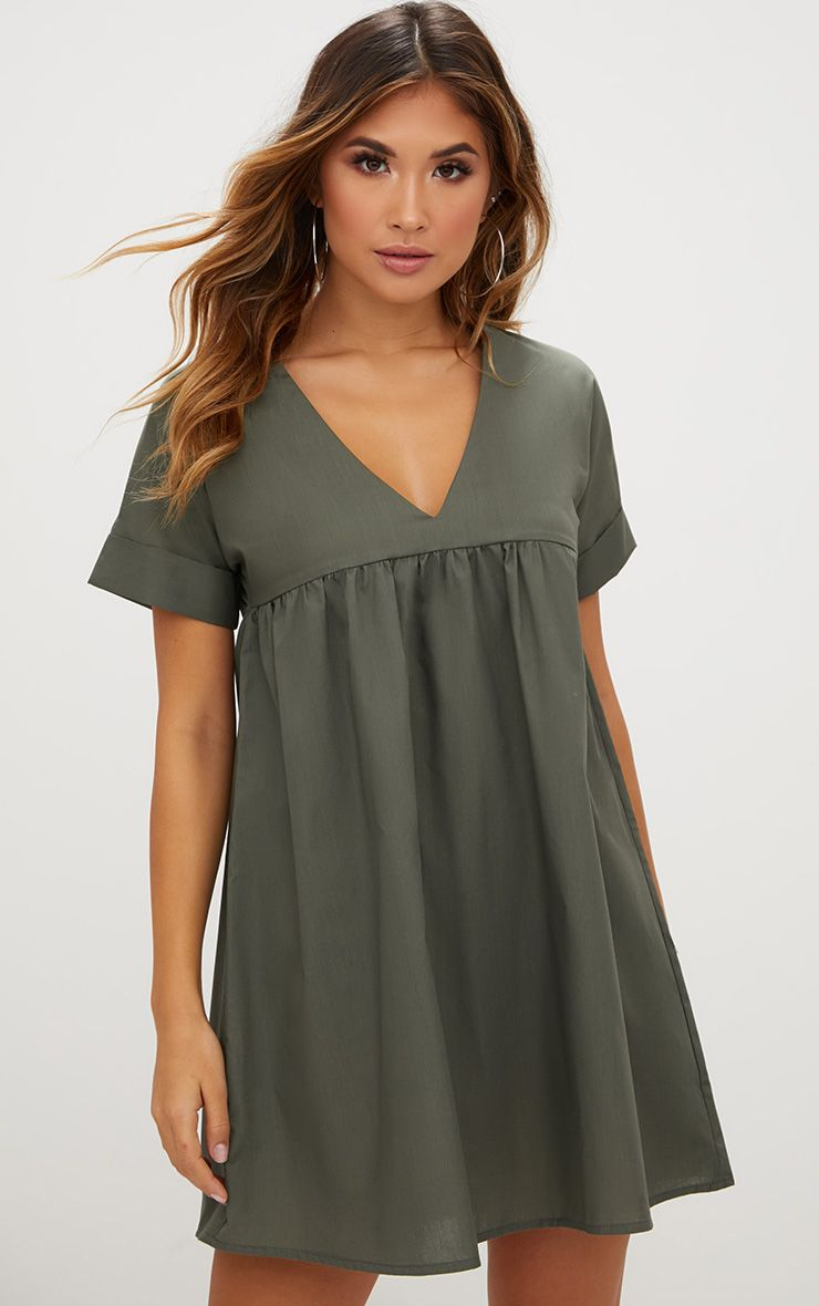 Khaki Poplin Smock Dress