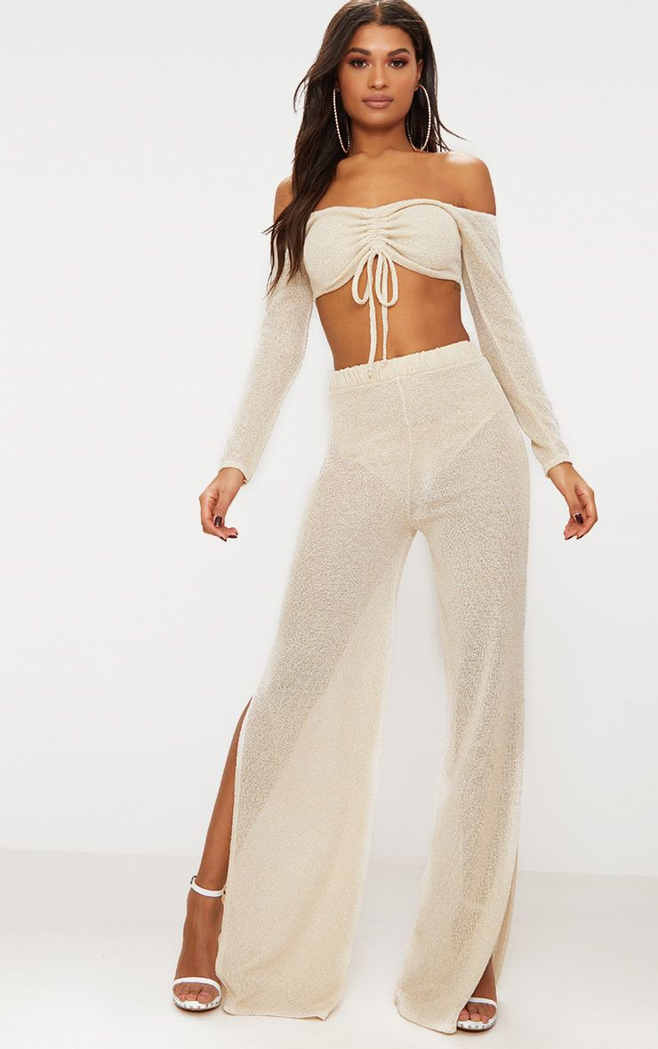 gold glitter knit flare trouser