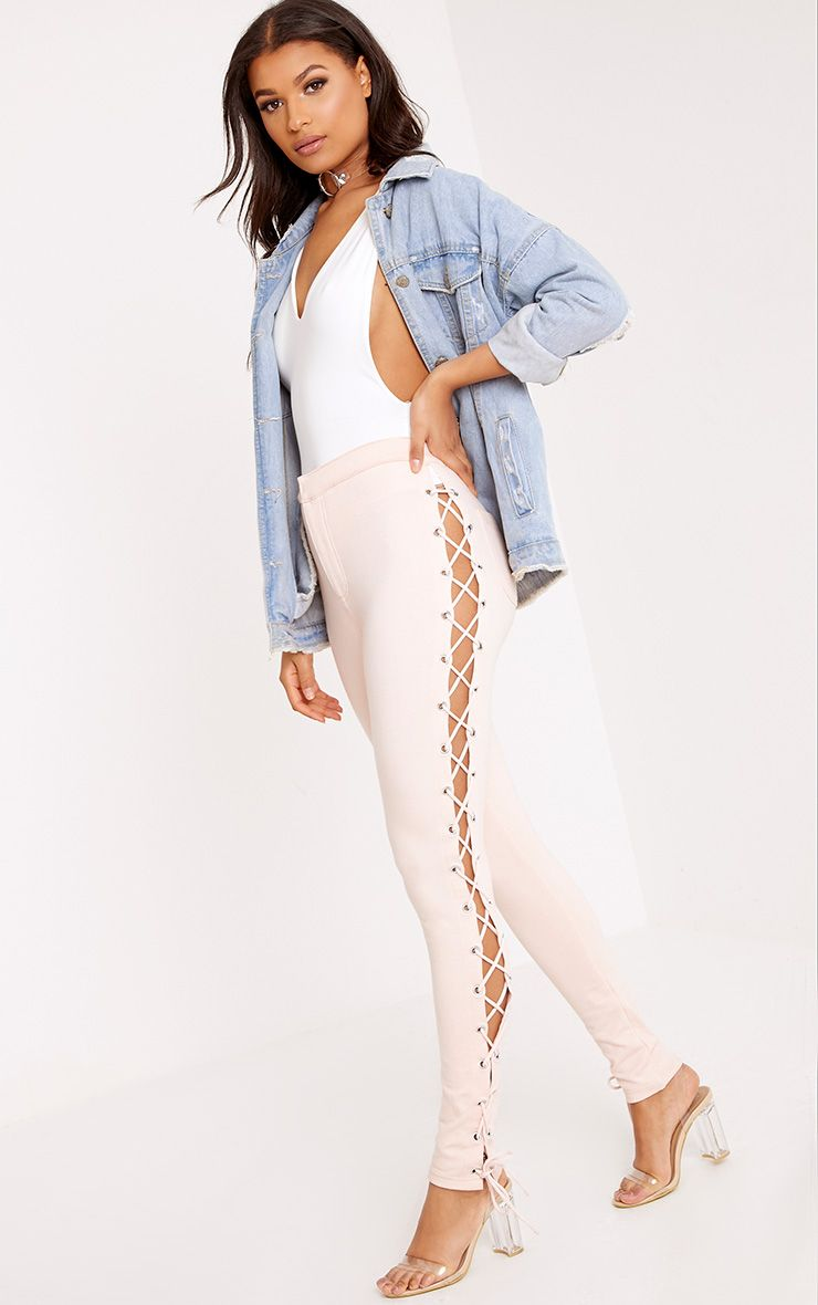 Lulu Blush Side Lace Up Skinny Trousers