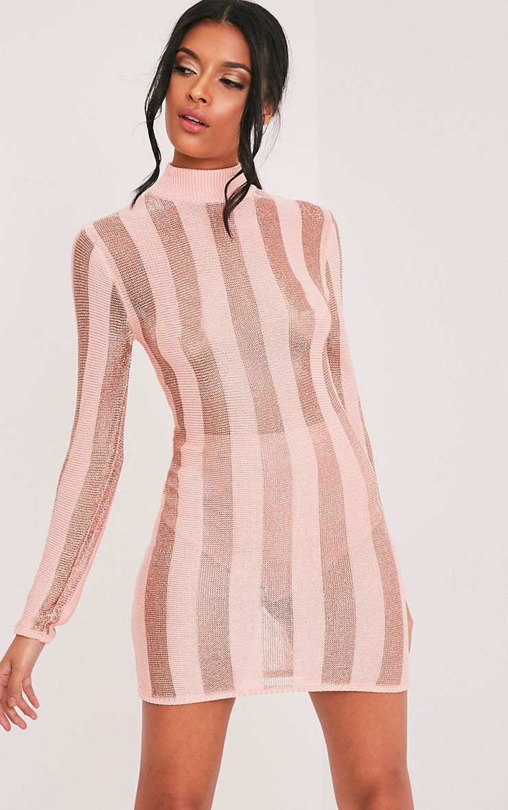 Amias Blush Metallic Knitted Mini Dress