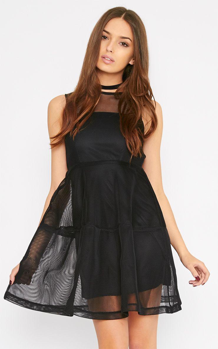 Hannie Black Net Skater Dress 1