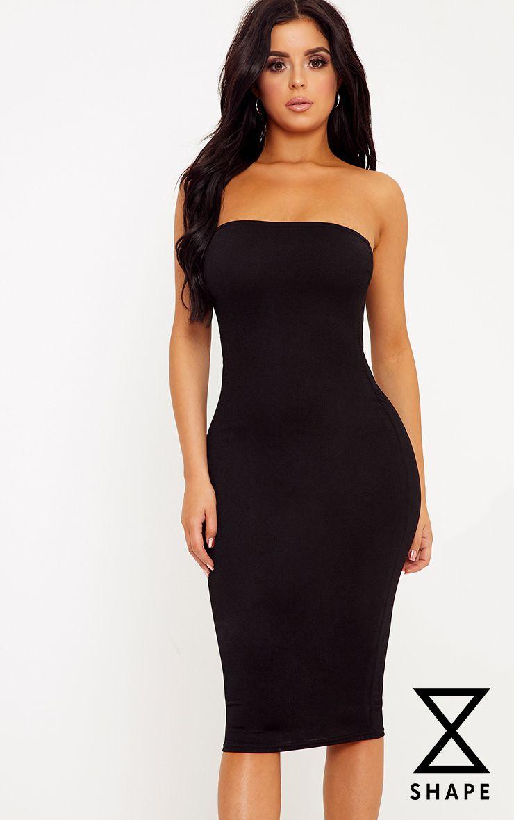 Shape Amber Black Plain Bandeau Dress
