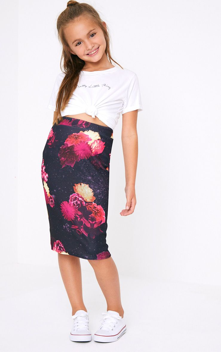 Floral Black Midi Skirt