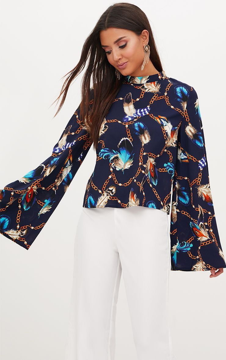 Navy Chain Print High Neck Blouse