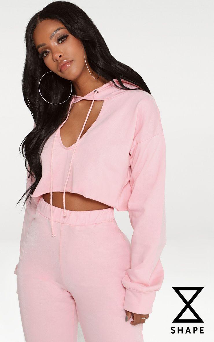 Shape Pink Crop Open Neck Hoodie 1