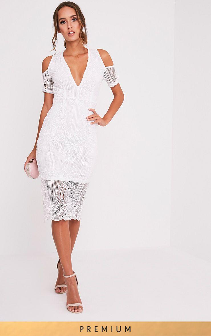 Nicolia White Lace Plunge Midi Dress 1