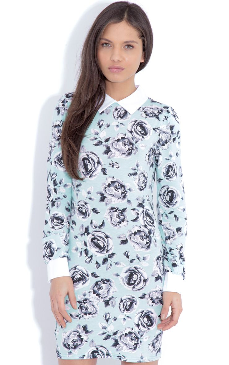 Demi Mint Floral Collar Dress 1