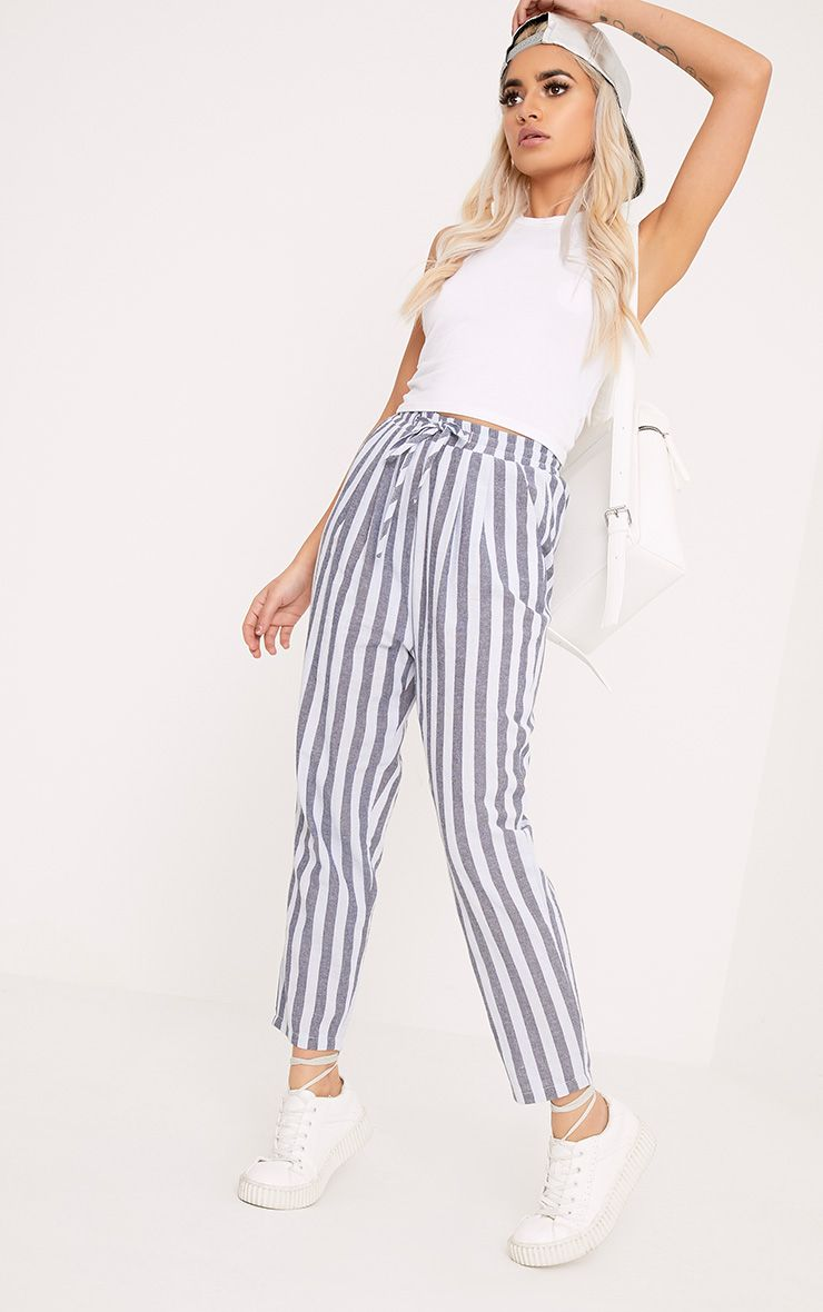 Diya Blue Stripe Casual Trousers