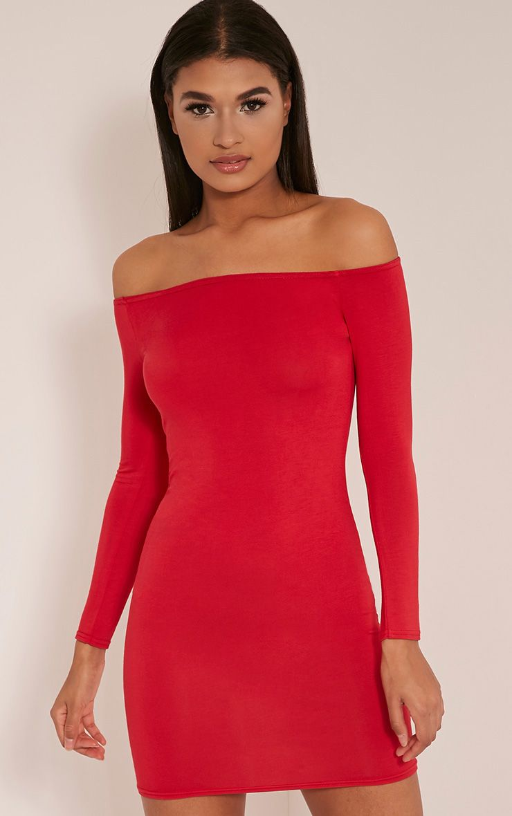 Basic Red Bardot Bodycon Dress