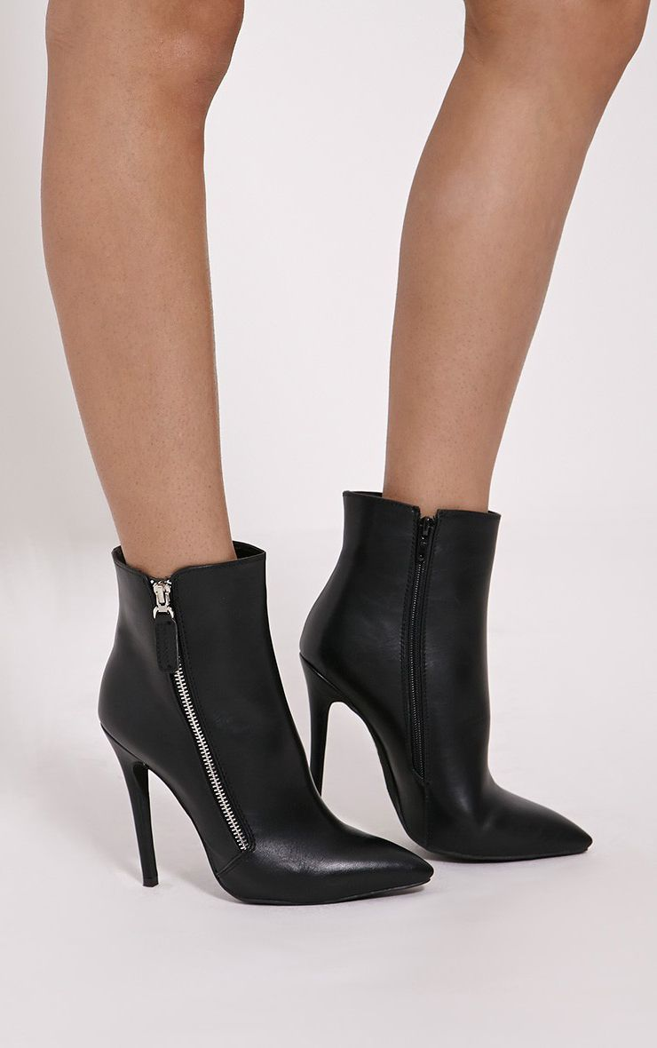 Soreenah Black Faux Leather Zip Detail Pointed Ankle Boots 1