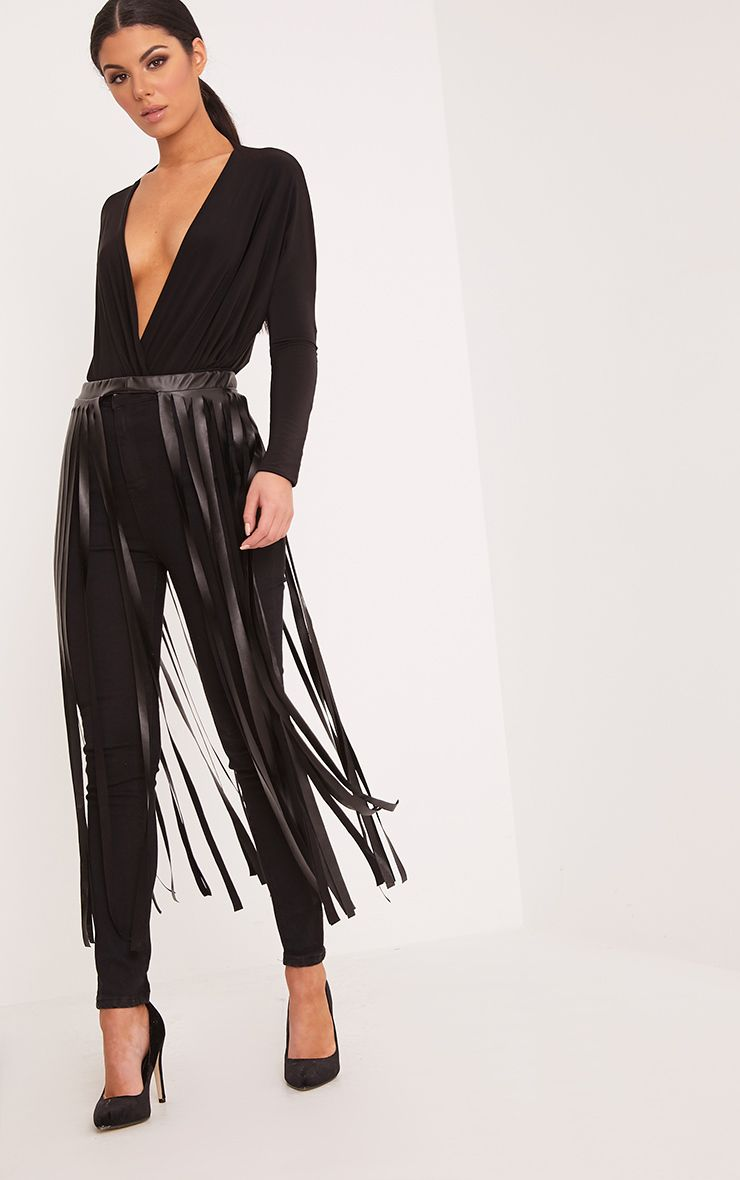 Dee Black Faux Leather Extreme Fringe Belt