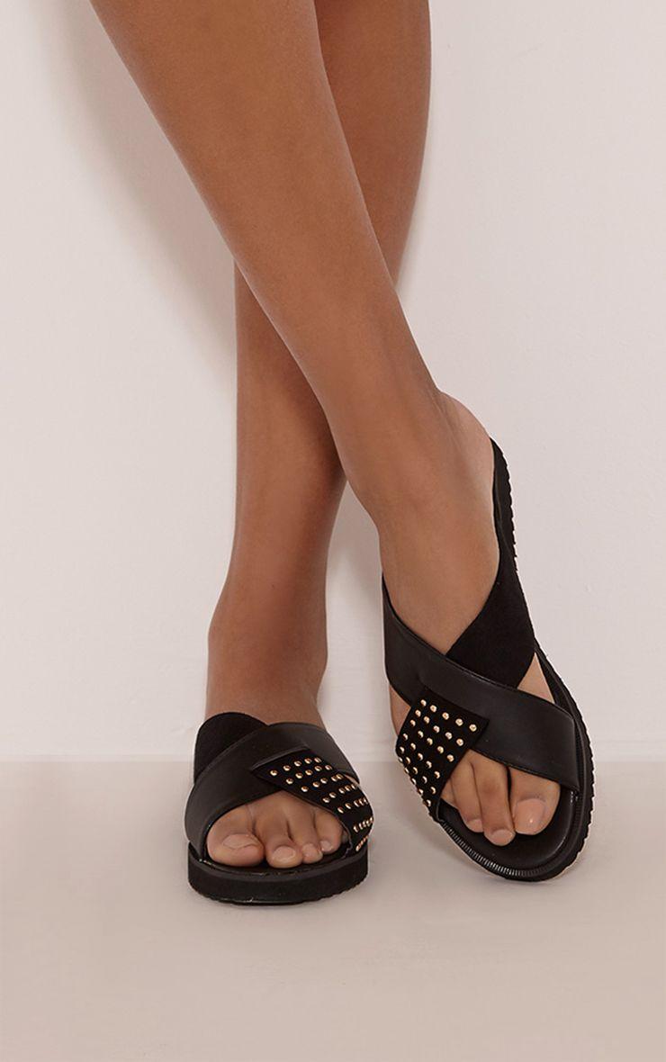 Aalia Black Stud Detail Sliders