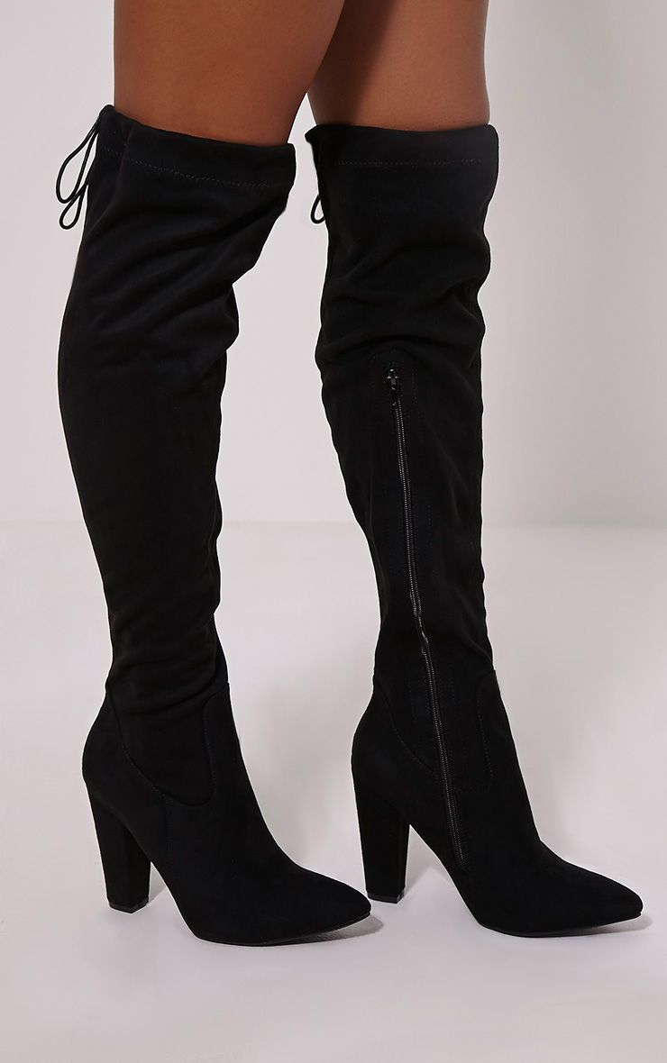 Hazel Black Faux Suede Heel Thigh Boots 1