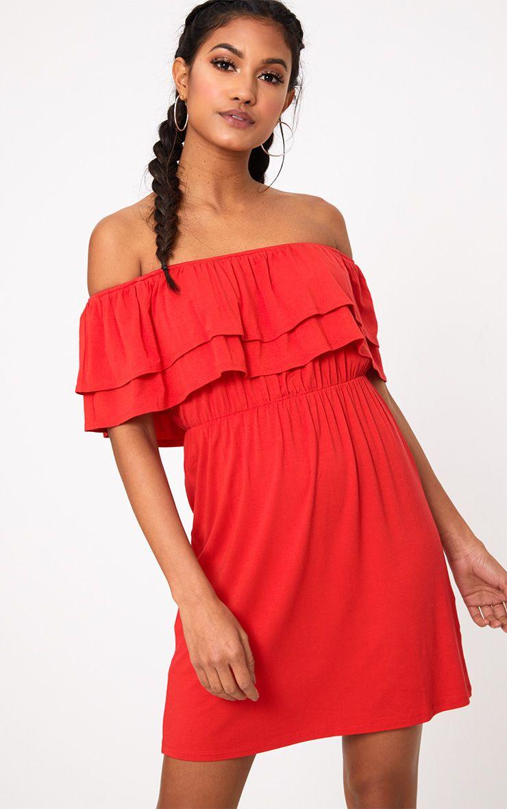 Red Jersey Double Frill Bardot T Shirt Dress