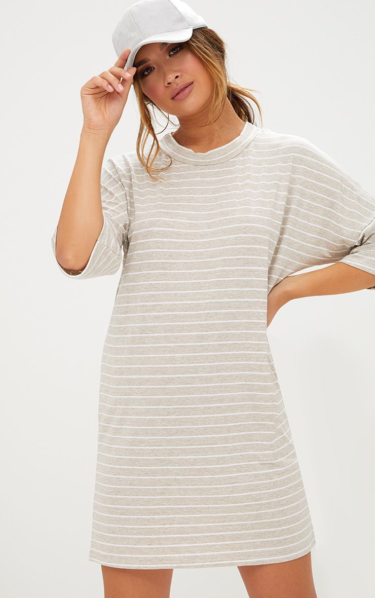 Oatmeal Striped Oversized T Shirt Dress