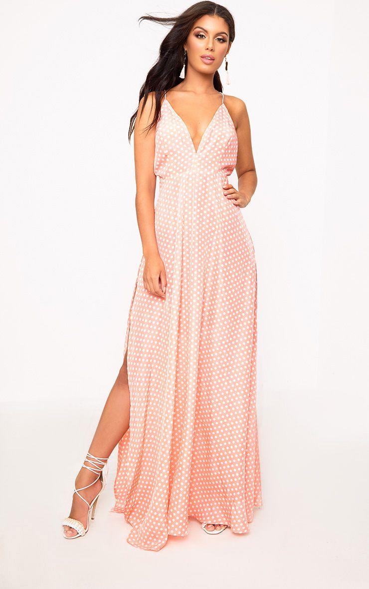 Pink Polkadot Extreme Split Strappy Back Maxi Dress