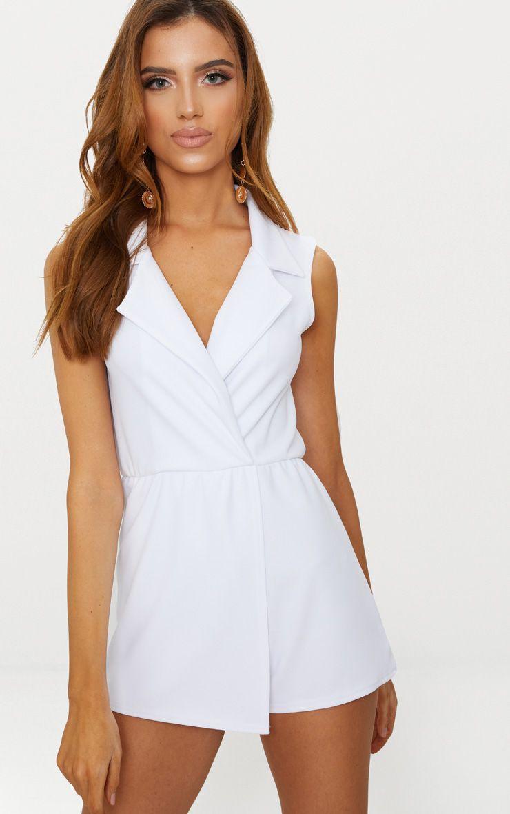 White Sleeveless Tux Style Playsuit