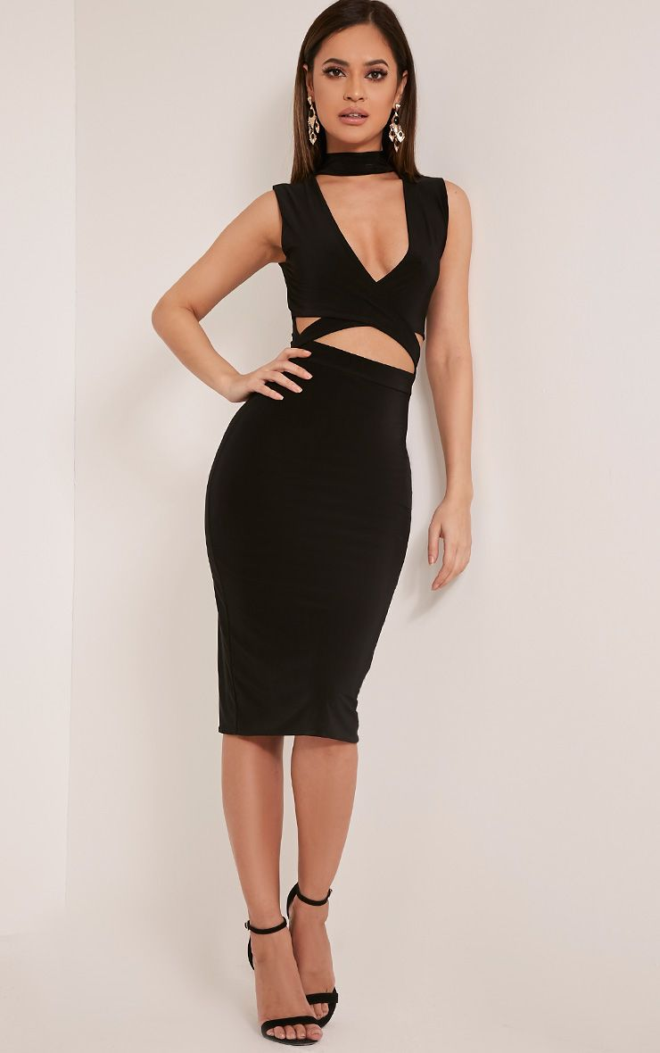 Nadeena Black Neck Detail Cut Out Sleeveless Midi Dress 1
