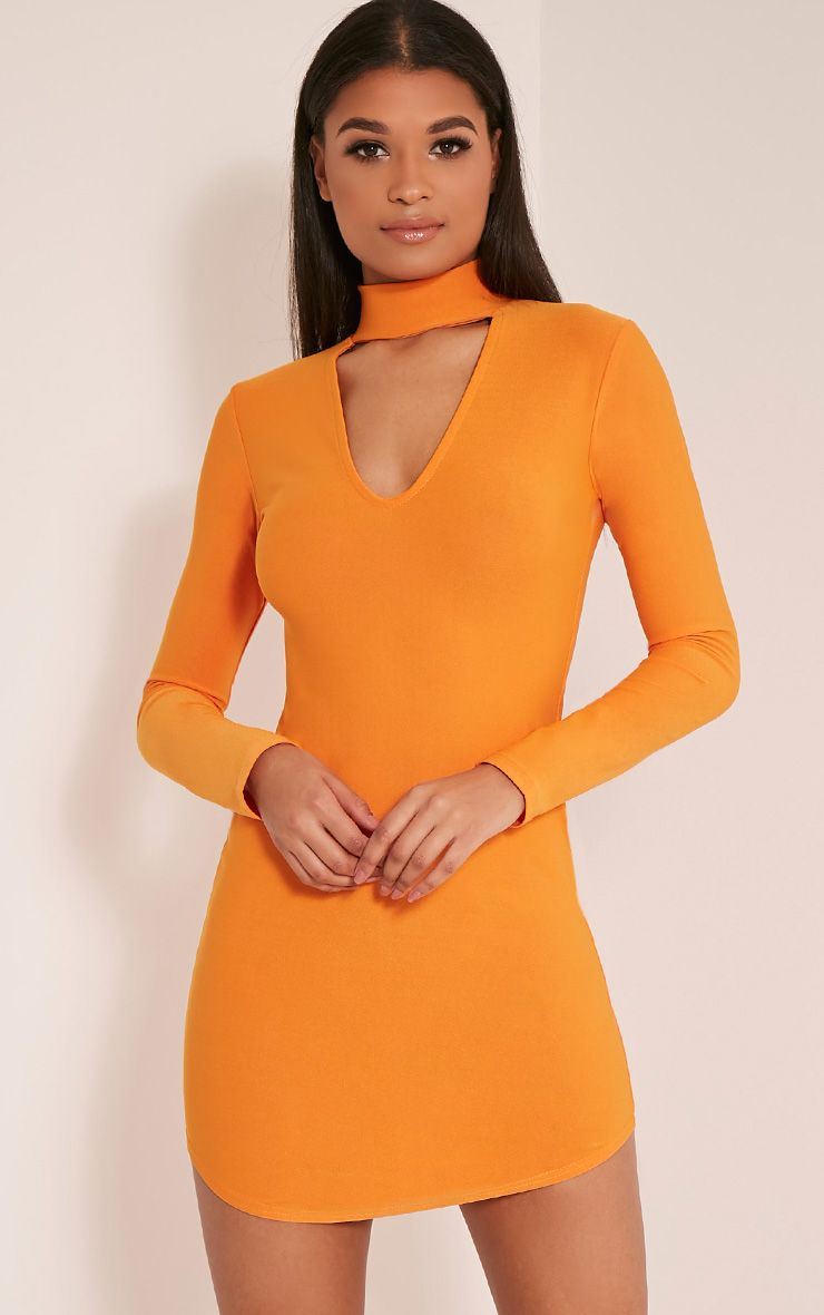 Arianna Bright Orange Crepe Choker Detail Bodycon Dress 1
