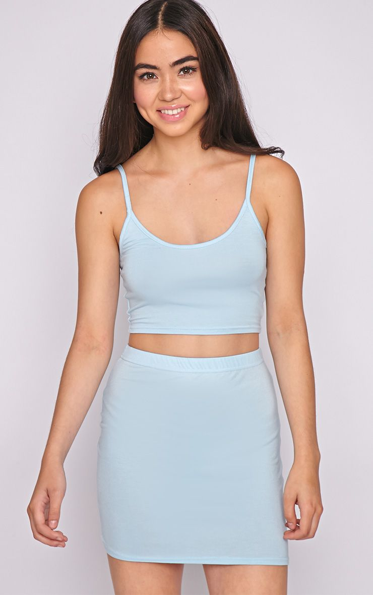 Basic Blue Jersey Mini Skirt 1
