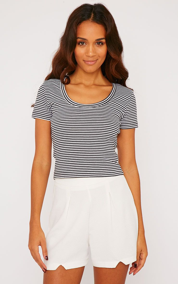 Bertie Black Stripe Crop Tee 1